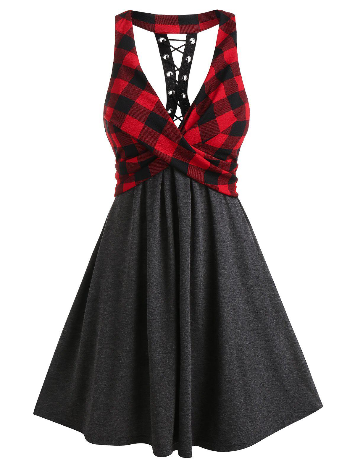 Plaid Print Lace Up Back High Waist Dress - multicolor A XL
