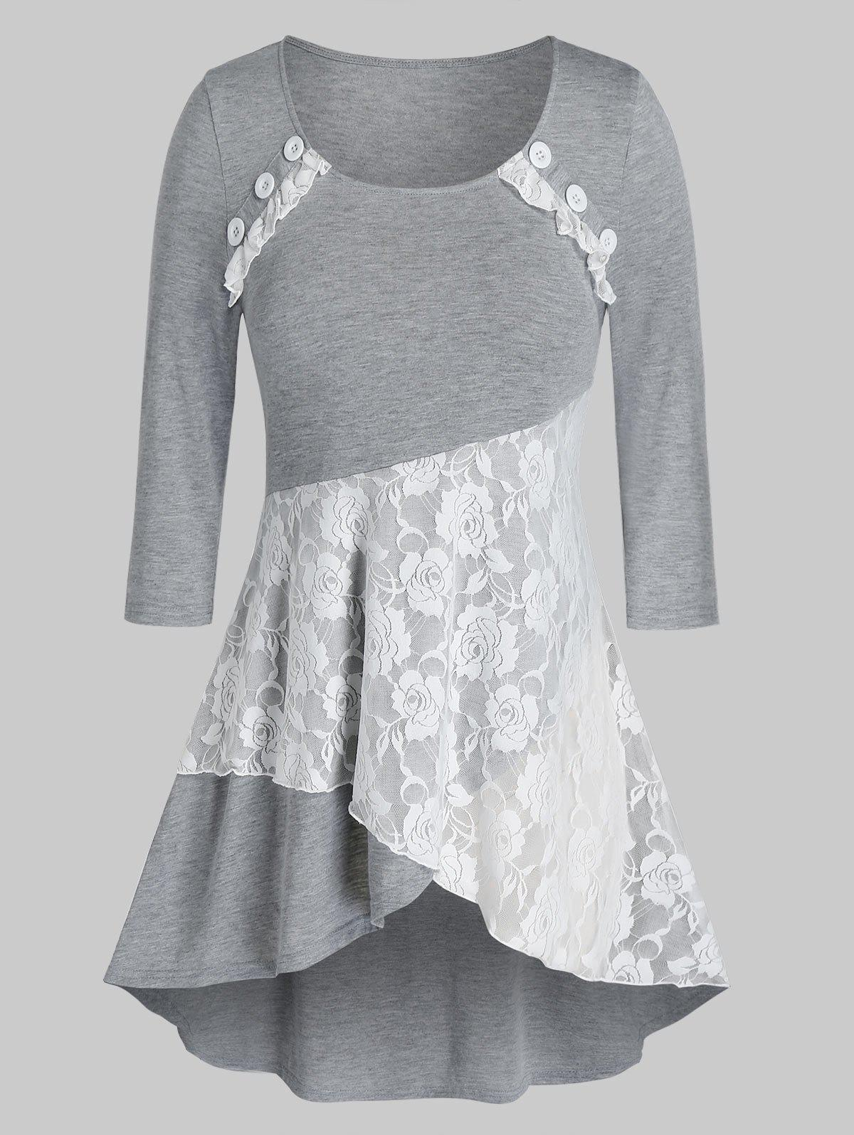 Plus Size Floral Lace Button Layered Top - GRAY 4X