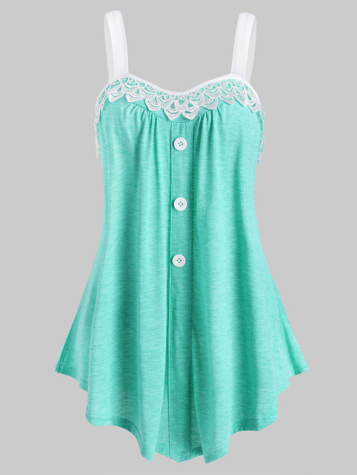Lace Insert Mock Button Colorblock Tank Top - LIGHT GREEN S