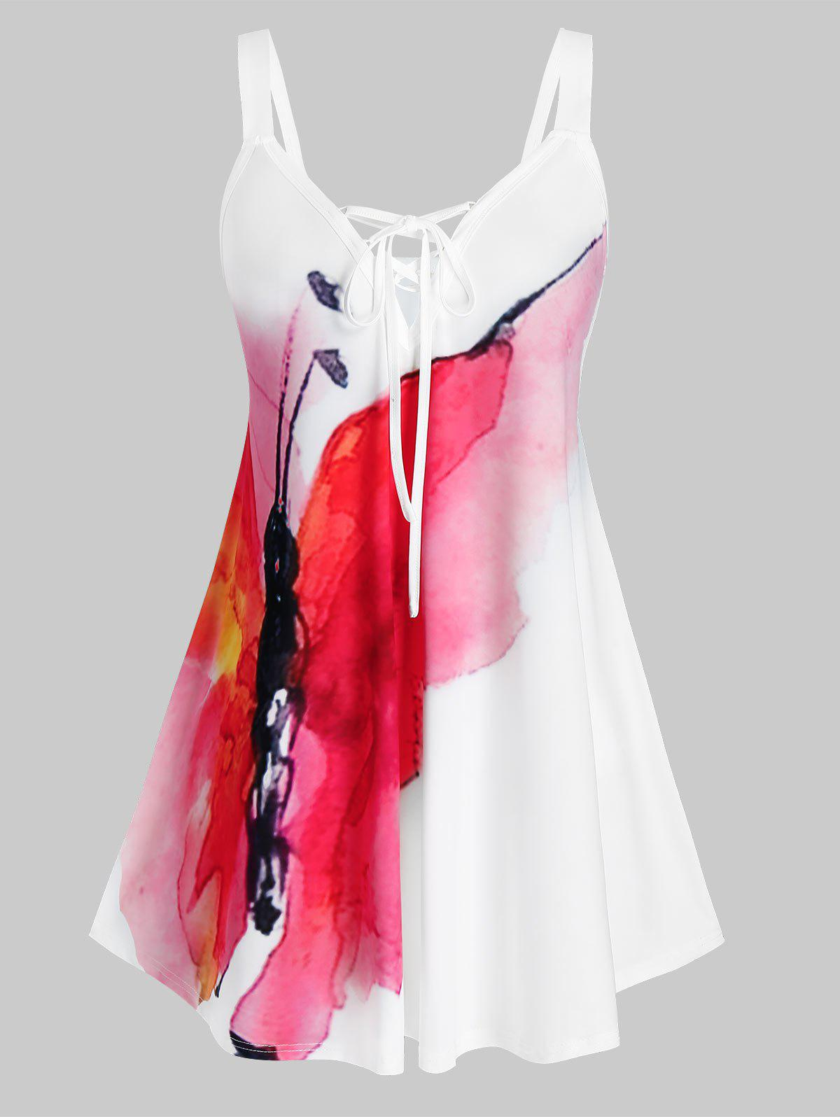 Plus Size Butterfly Print Lace Up Tank Top - WHITE L