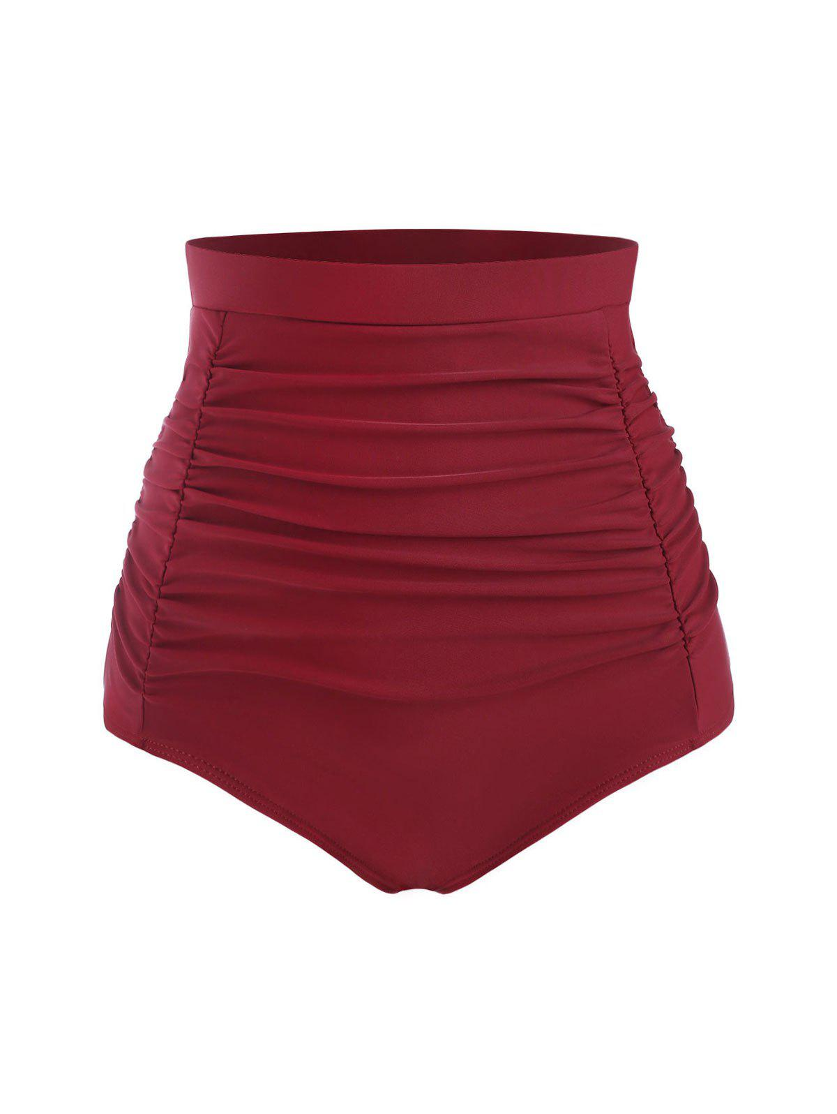 Ruched High Rise Bikini Bottom - DEEP RED M