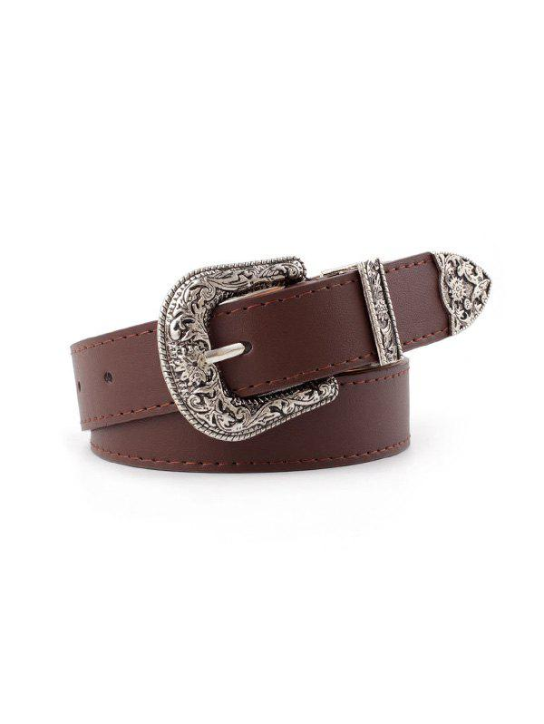 Flower Curved Buckle PU Belt - DEEP COFFEE