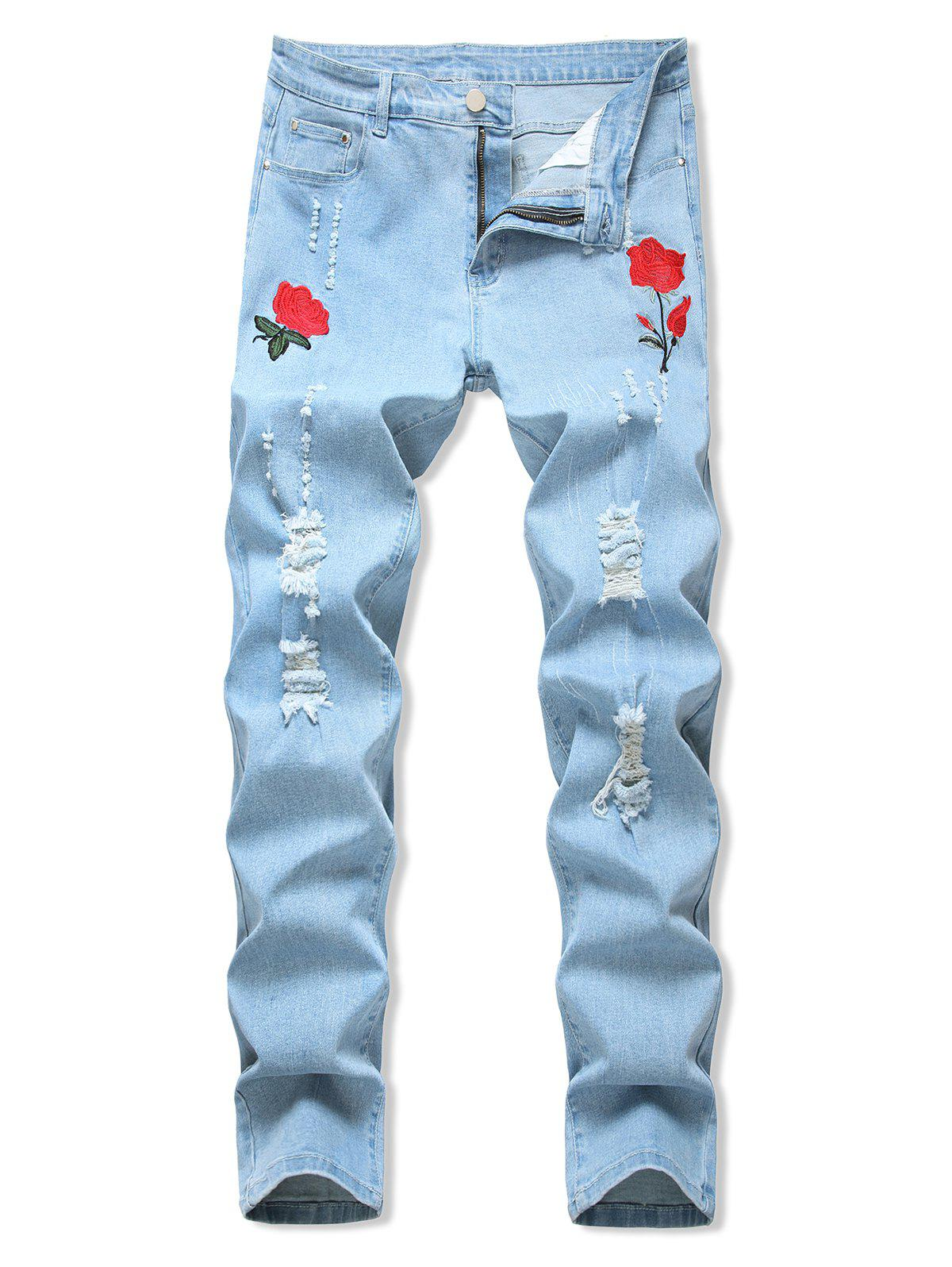 Floral Embroidery Ripped Design Jeans - LIGHT BLUE 40