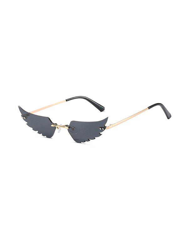 Wing Shape Rimless Metal Sunglasses - BLACK