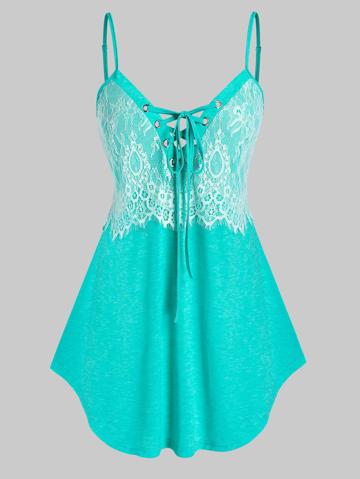 Plus Size Lace-up Eyelash Lace Cami Top - AQUAMARINE 2X