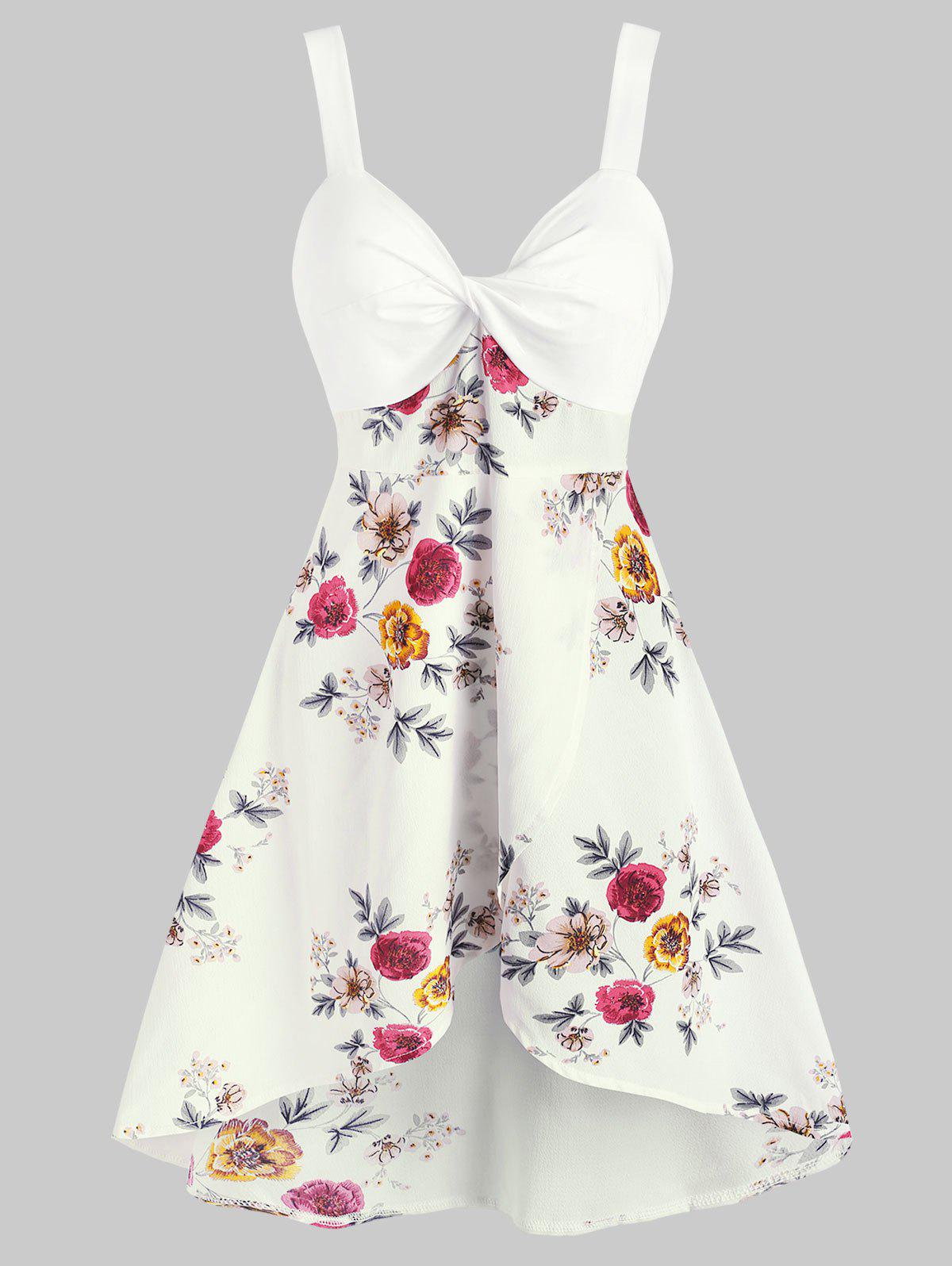 Floral Print Twist Front Sleeveless Overlap Dress - WHITE S