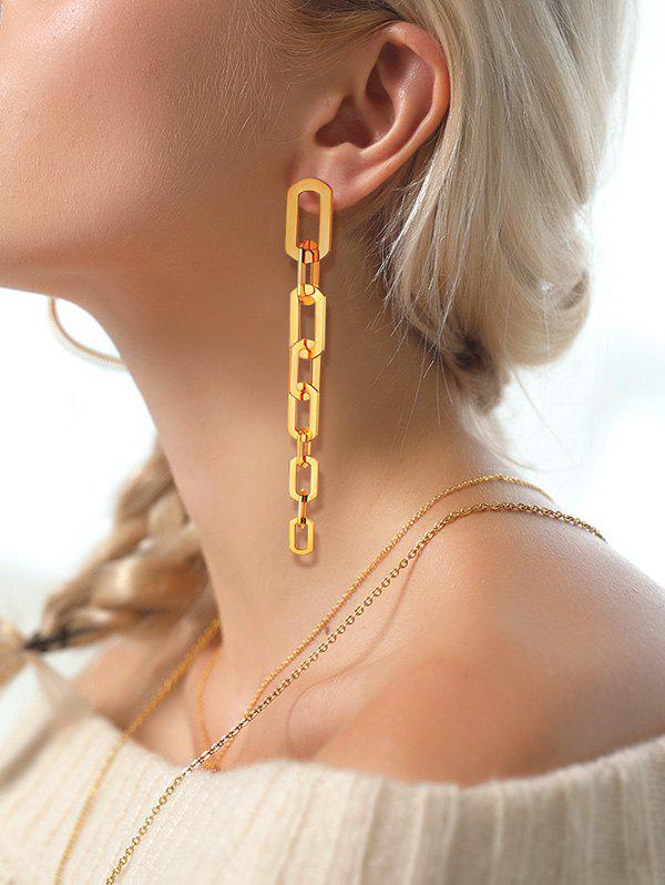 Chain 18K Gold Plated Silver Needle Earrings - GOLDEN