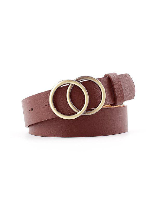 Double Rings Jeans Buckle Belt - COFFEE