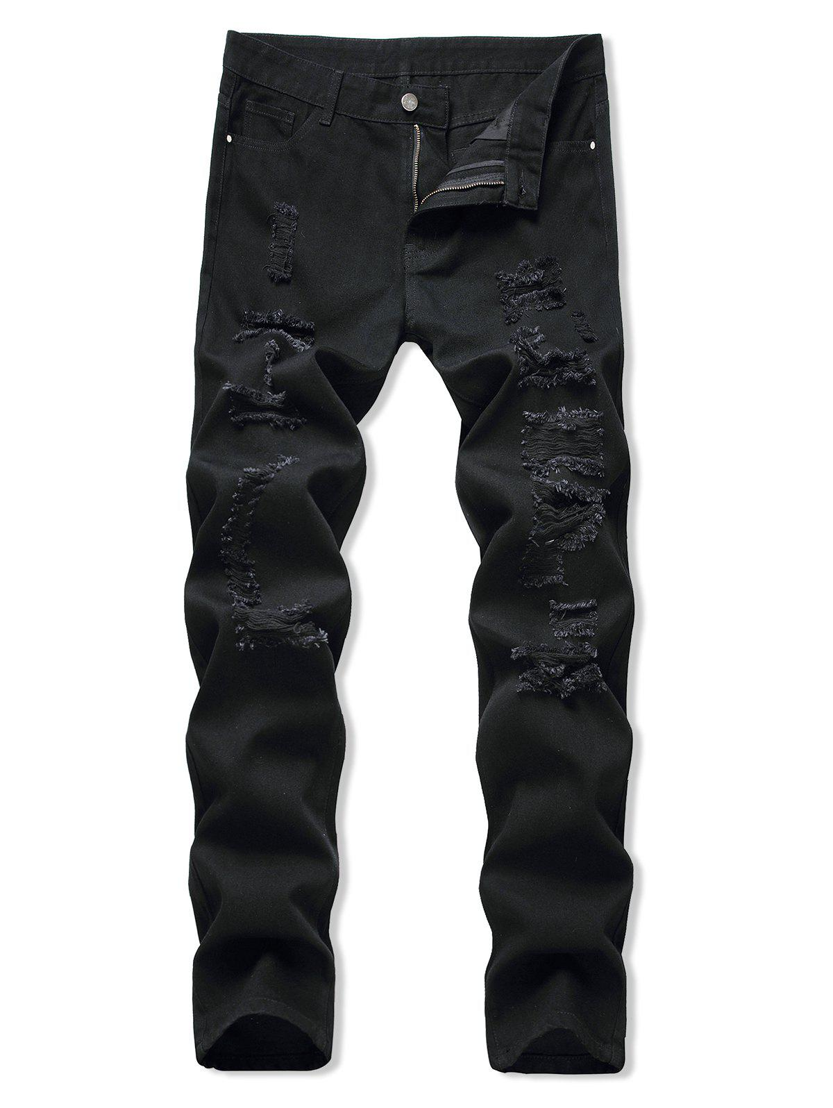 Light Wash Distressed Casual Jeans - BLACK 36