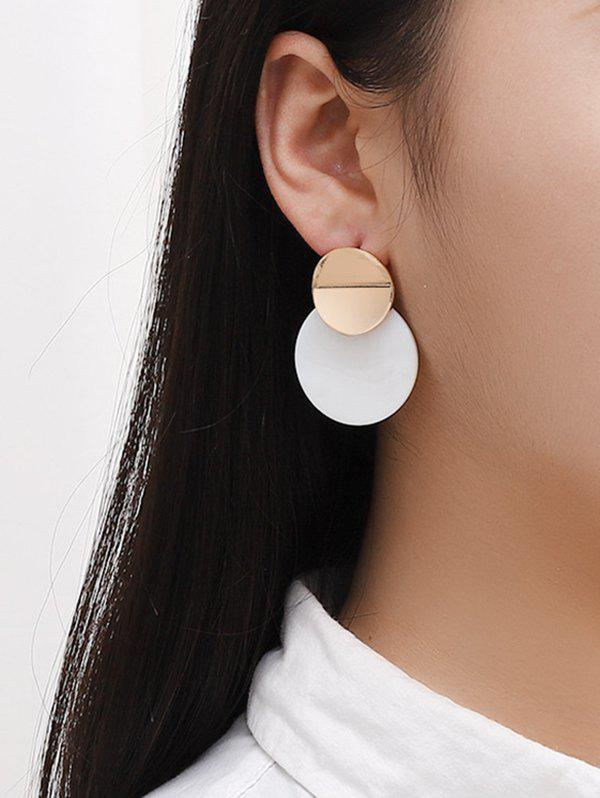 Brief Round Acrylic Stud Drop Earrings - GOLDEN