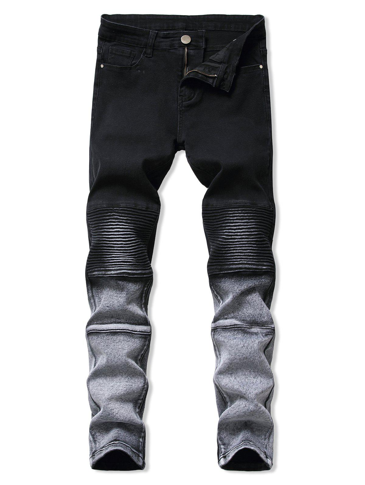 Contrast Tapered Biker Jeans - BLACK 38
