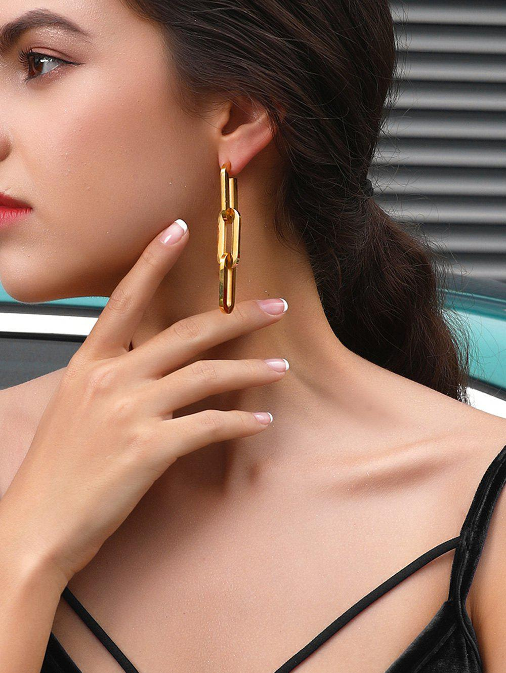 Silver Needle 18K Gold Plated Link Chain Earrings - GOLDEN