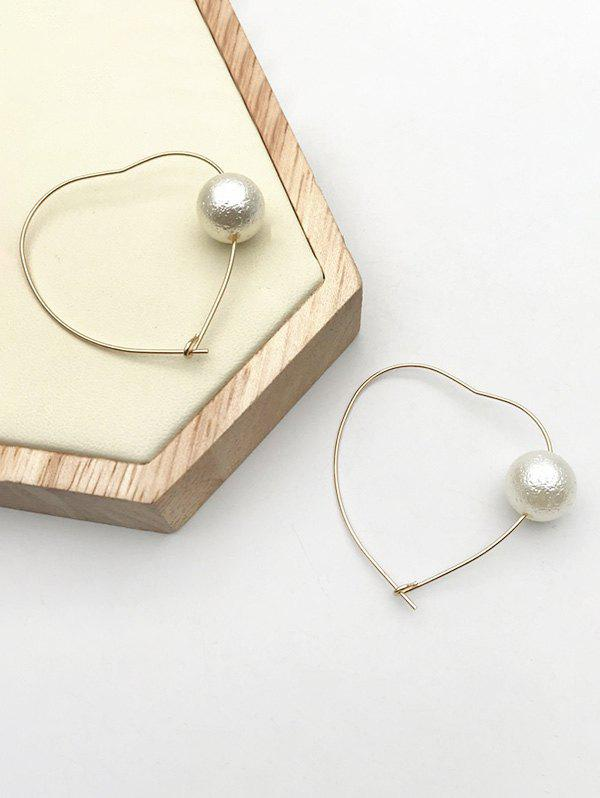 Faux Pearl Heart Shape Earrings - GOLDEN