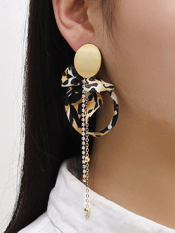 Leopard Bowknot Faux Pearl Asymmetric Earrings - GOLDEN