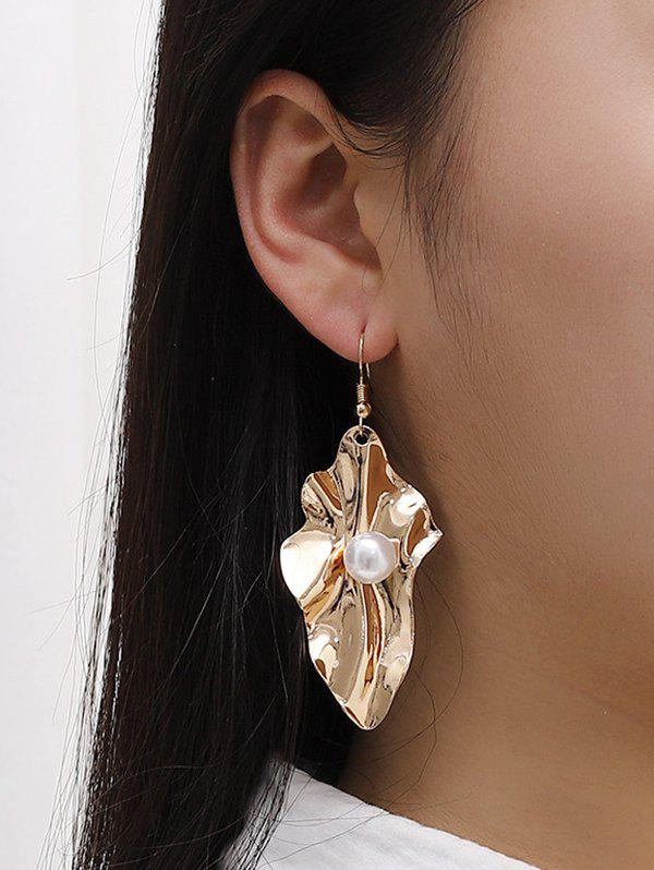 Faux Pearl Leaf Shape Hook Earrings - GOLDEN