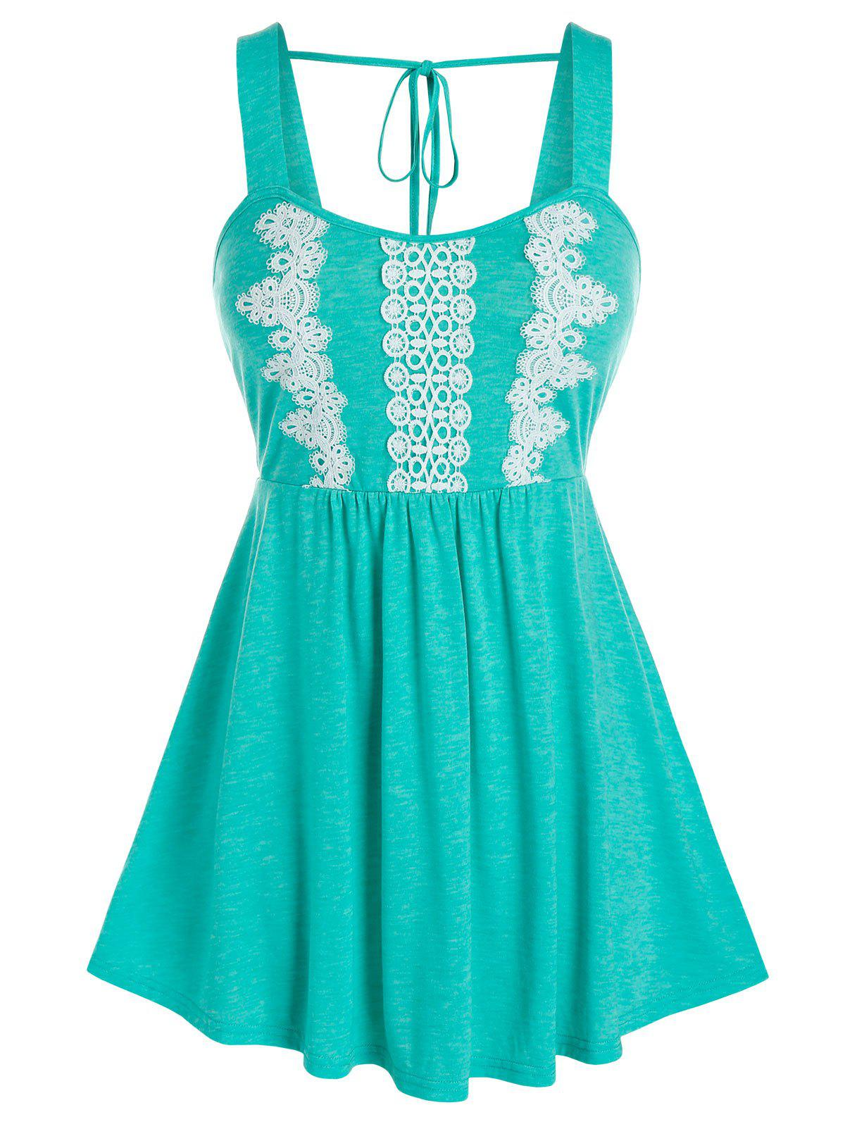 Plus Size Applique Fit And Flare Tank Top - SEA GREEN L
