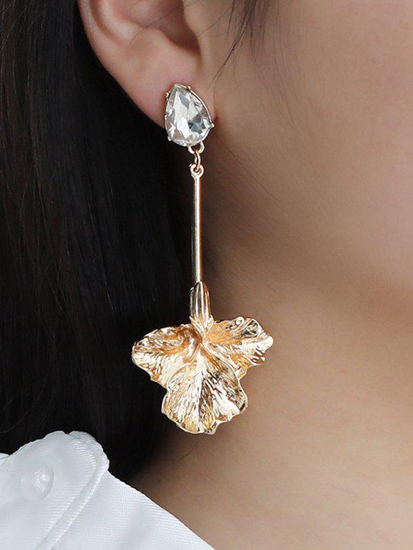 Rhinestone Maple Leaves Shape Asymmetric Earrings - GOLDEN