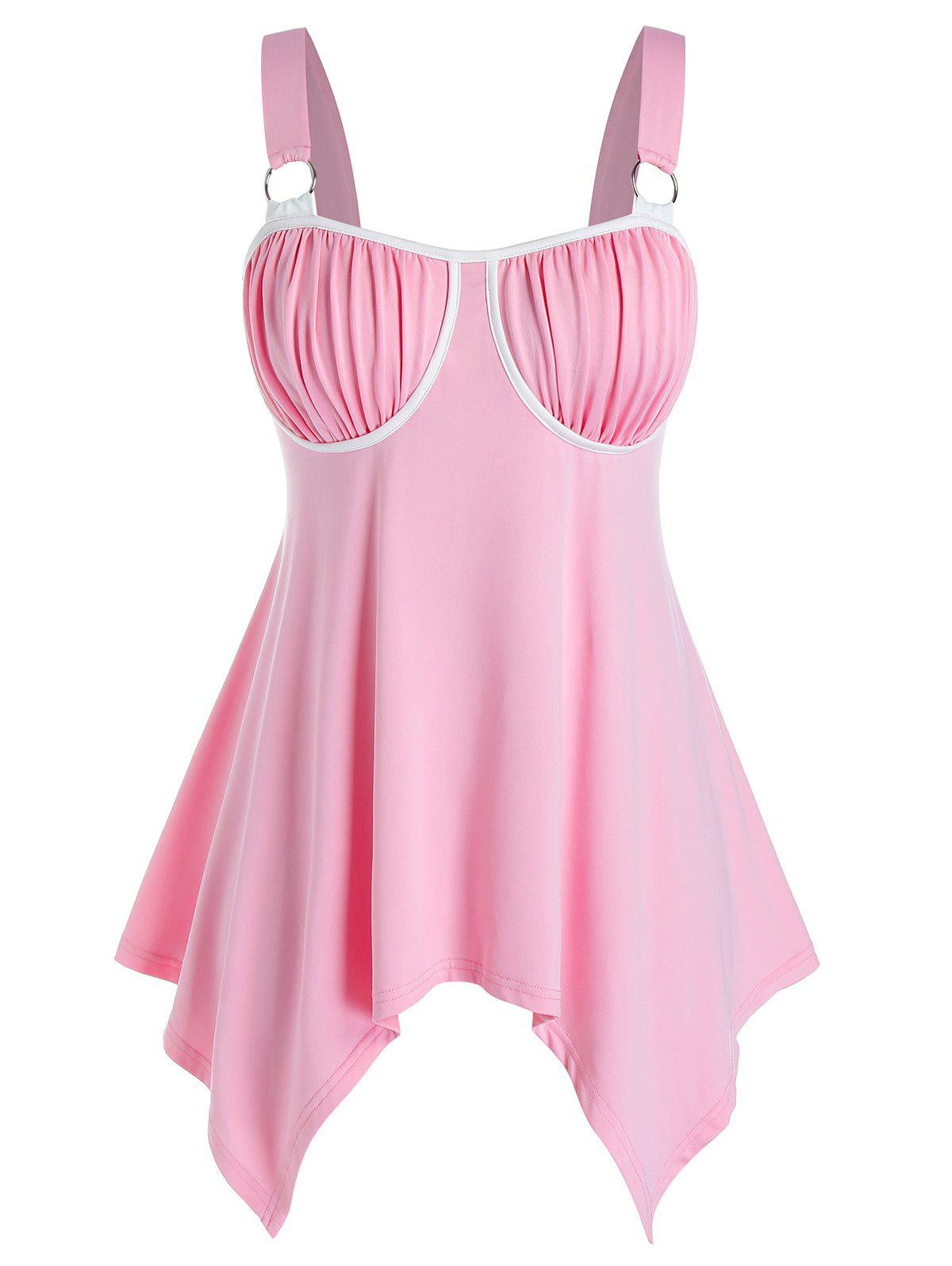 Plus Size Ruched Hanky Hem O-ring Linked Tank Top - PINK L