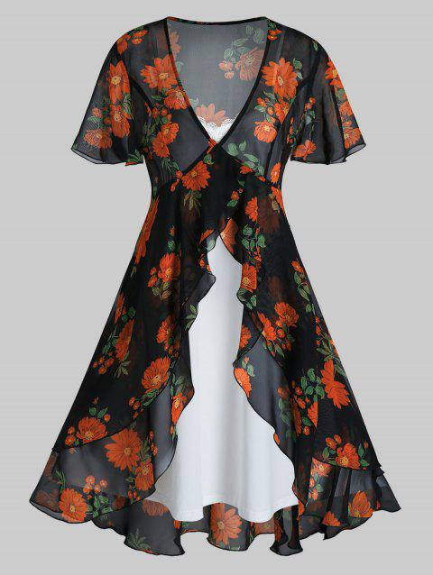 Plus Size Flower Sheer Blouse and Cami Dress Set