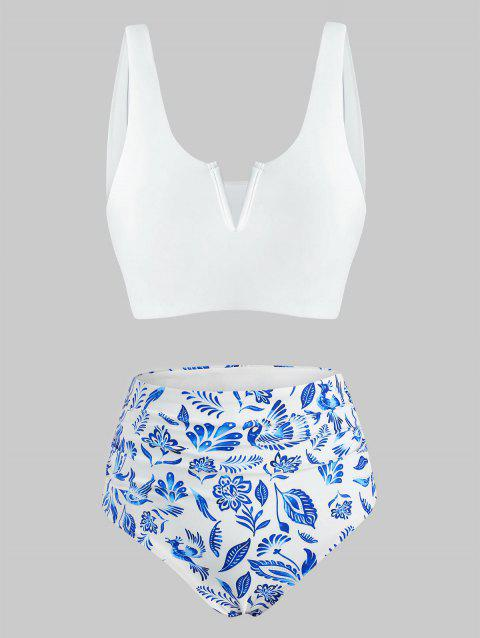 V-wired Reversible Blue And White Printed Tankini Swimwear