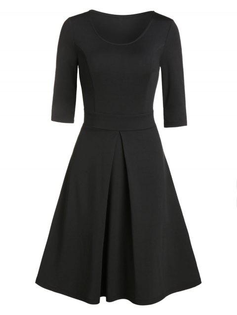 Solid Color Pleated Flare Dress