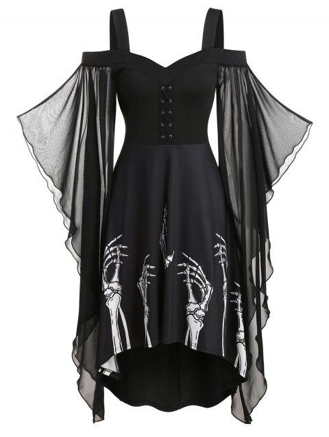 Skeleton Print Butterfly Sleeve High Low Dress