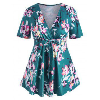 Floral Knotted Surplice Skirted Plus Size Top