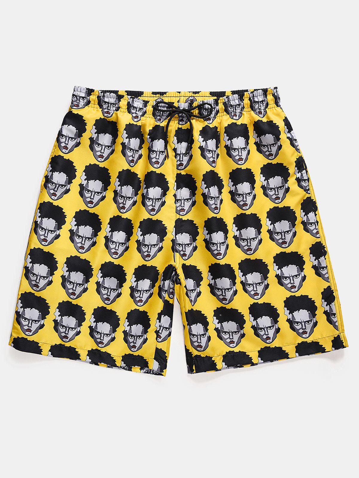 Figure Head Pattern Elastic Waist Shorts - SUN YELLOW L