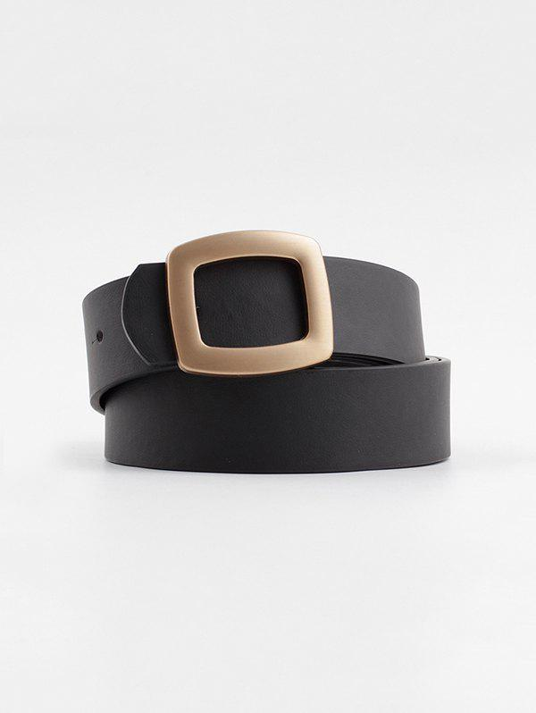 Hollow Square Buckle Wide Belt - BLACK