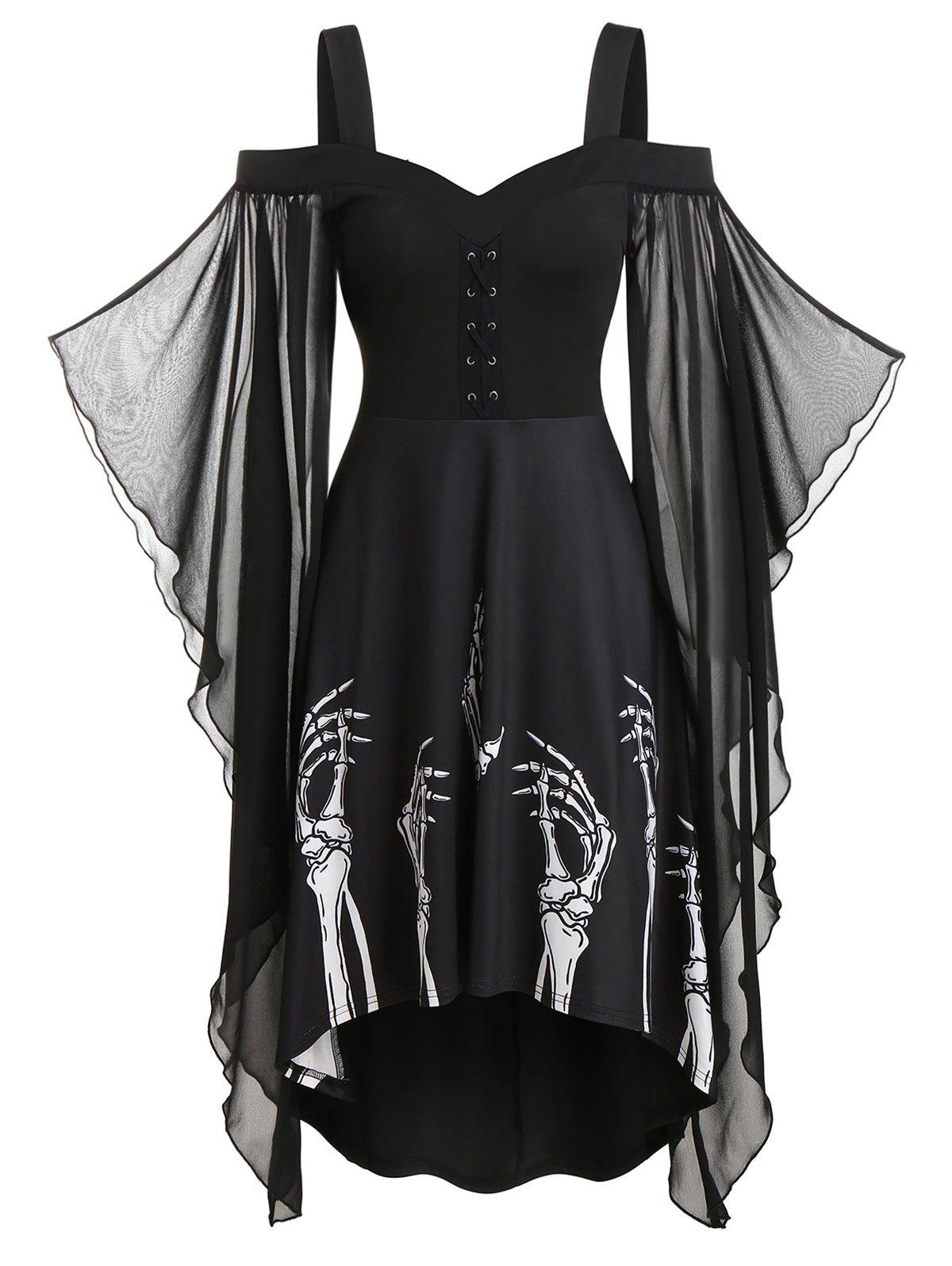 Skeleton Print Butterfly Sleeve High Low Dress - BLACK L