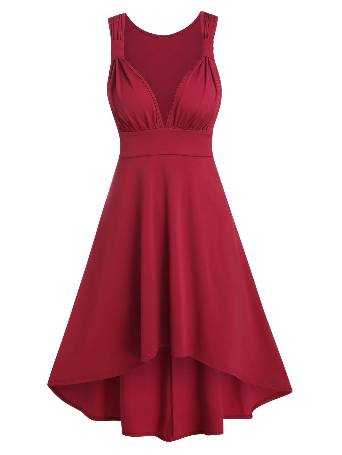 Sleeveless Ruched High Low Prom Dress - RED WINE M