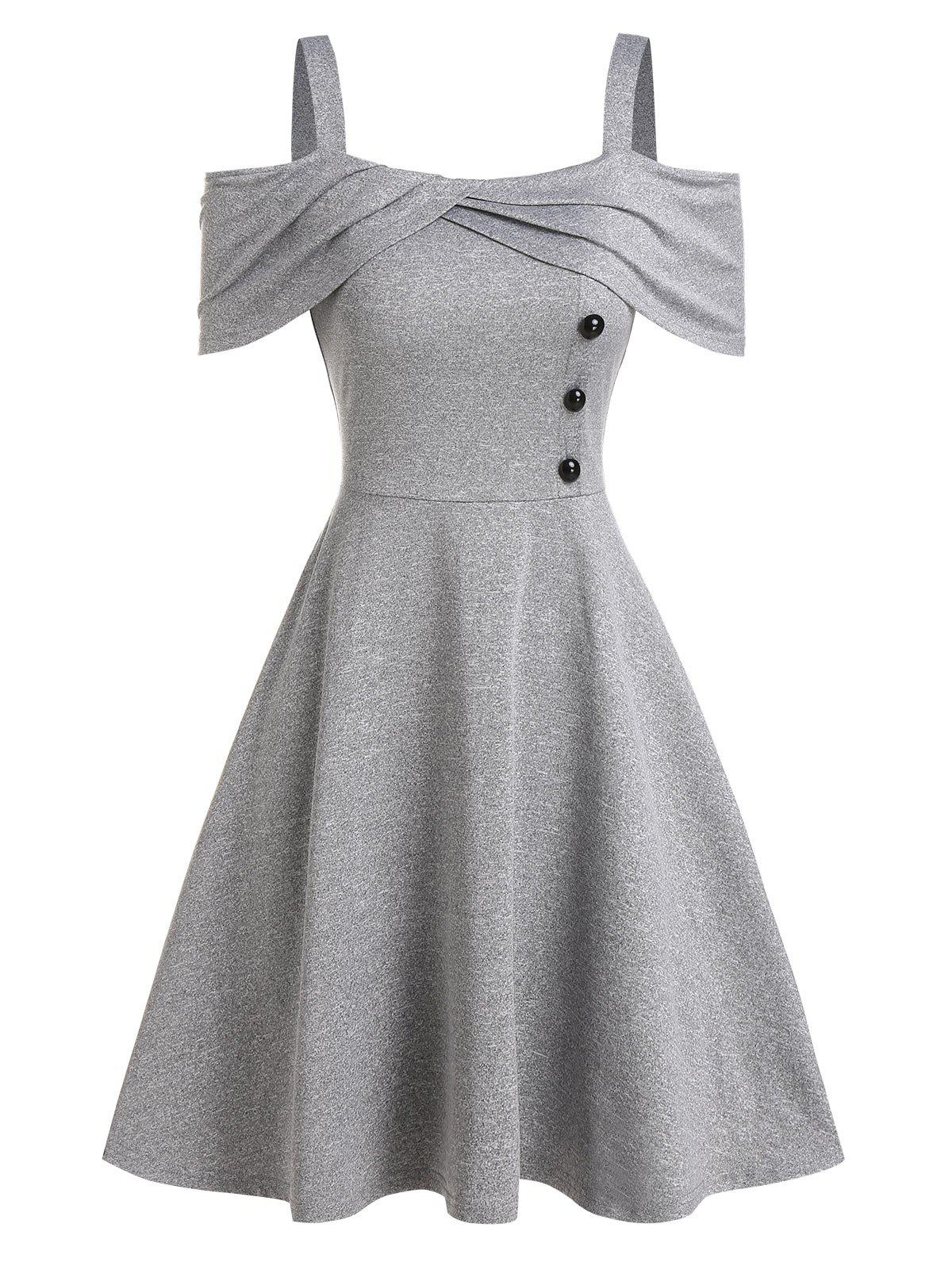Cold Shoulder Mock Button Marled Dress - LIGHT GRAY L