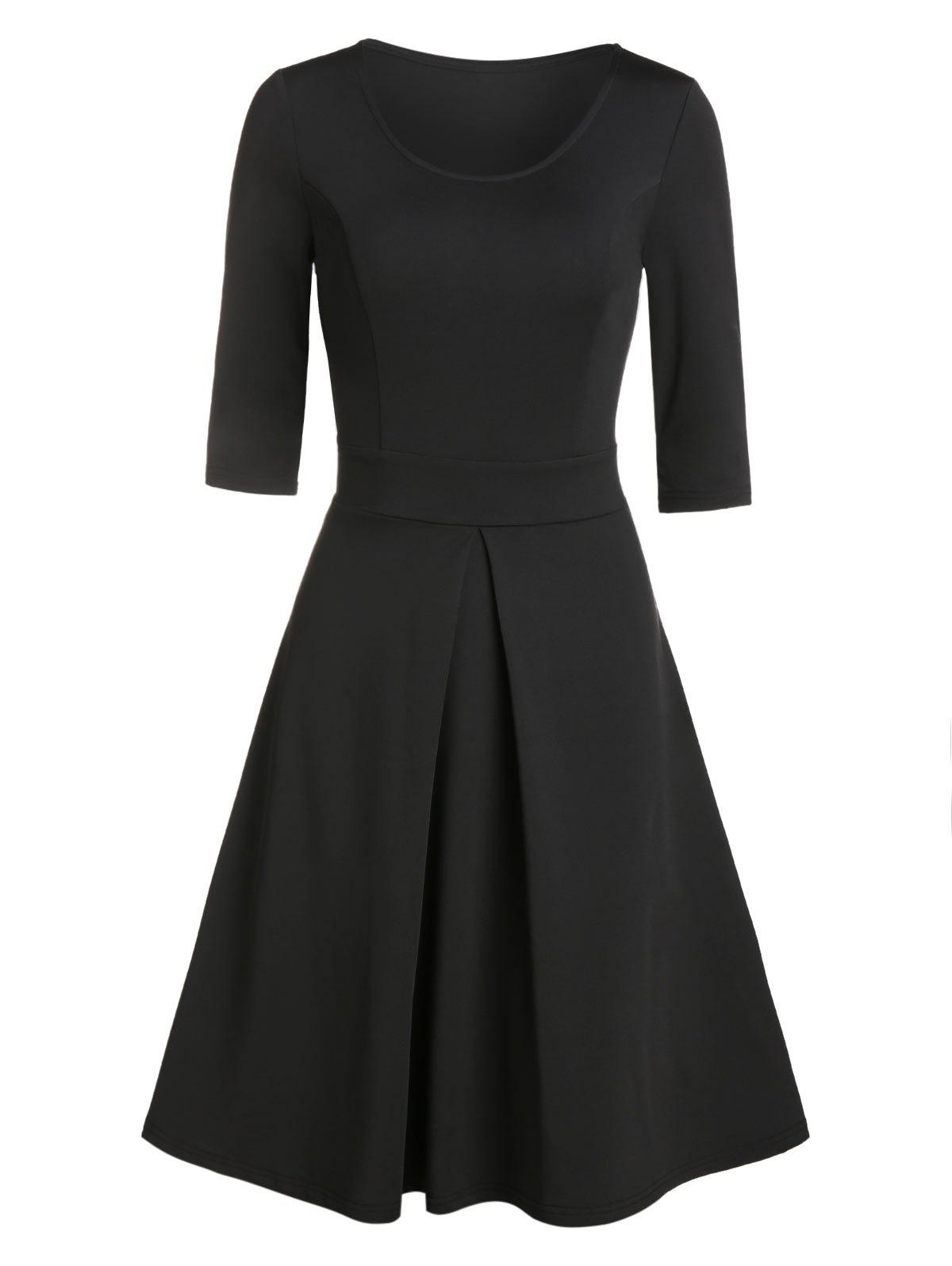 Solid Color Pleated Flare Dress - BLACK L