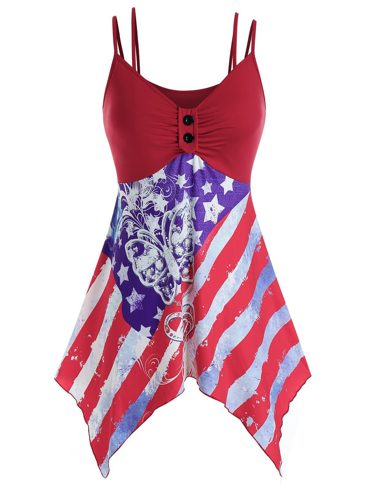 Plus Size American Flag Hanky Hem Ruched Cami Tank Top - RED 2X