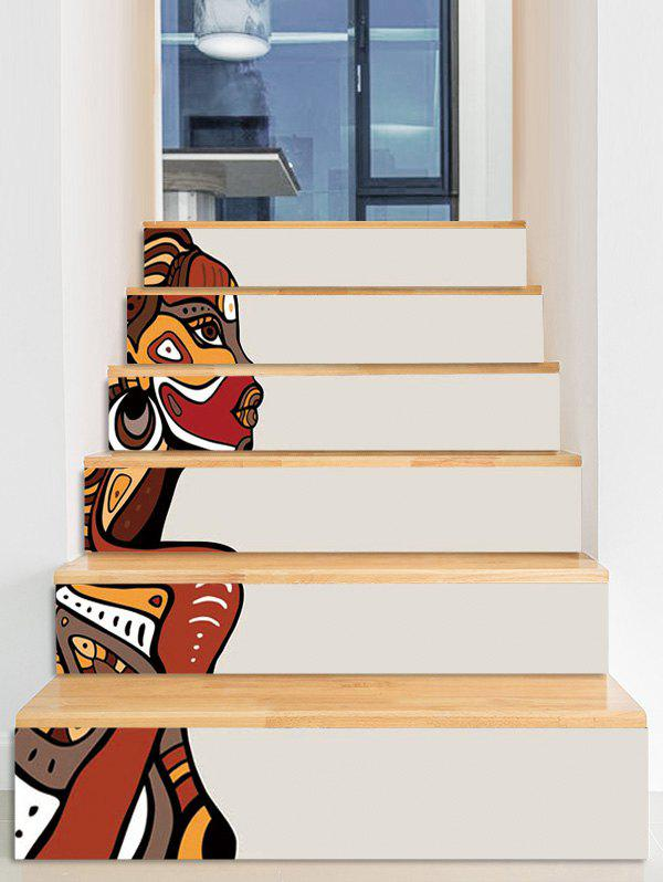 Indian Style Waterproof Decorative Removable Stair Stickers - multicolor I 6PCS X 39 X 7 INCH( NO FRAME )
