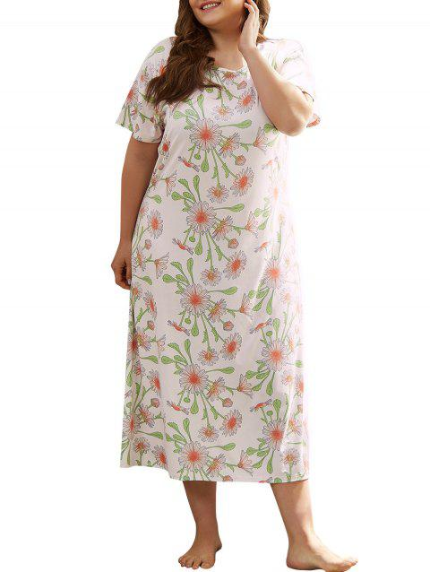 Plus Size Tea Length Flower Print Pajama Dress