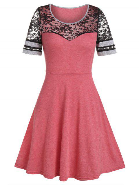 Lace Panel High Waist Round Neck Dress