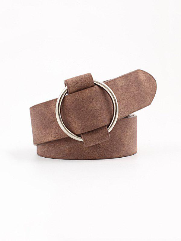 Circle No Pin Buckle Wide Belt - BROWN
