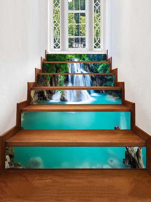 Waterfall Landscape Print Stair Stickers - MEDIUM SPRING GREEN 6PCS X 39 X 7 INCH( NO FRAME )