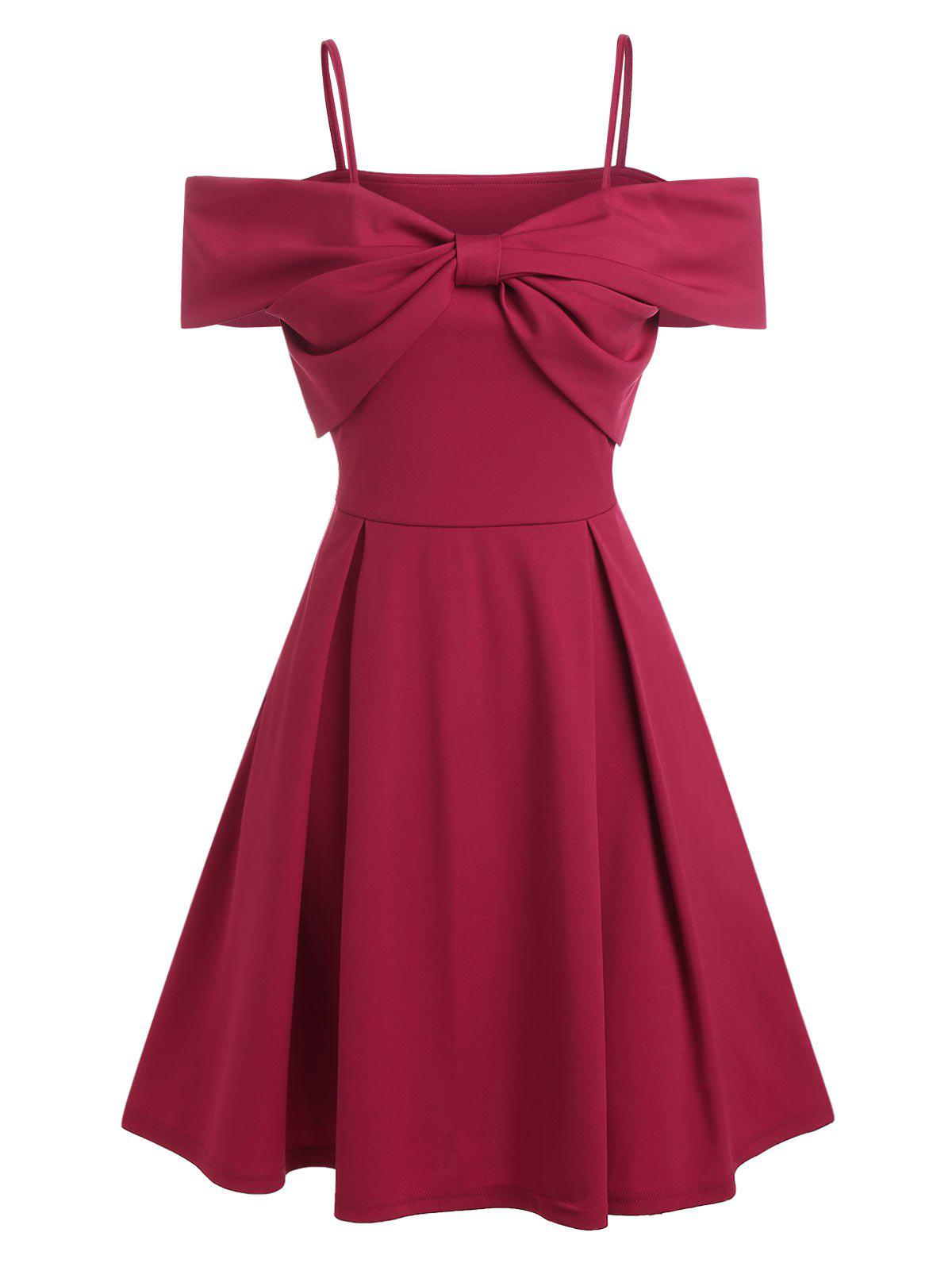 Front Bowknot Cold Shoulder Party Dress - RED WINE L