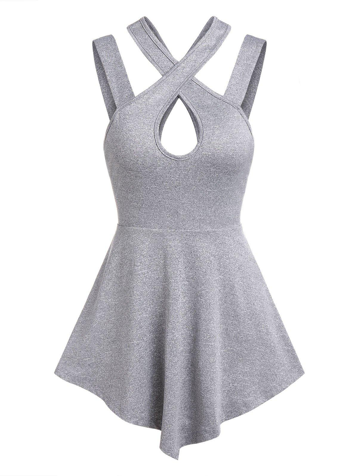 Keyhole Pointed Hem Marled Tank Top - LIGHT GRAY M