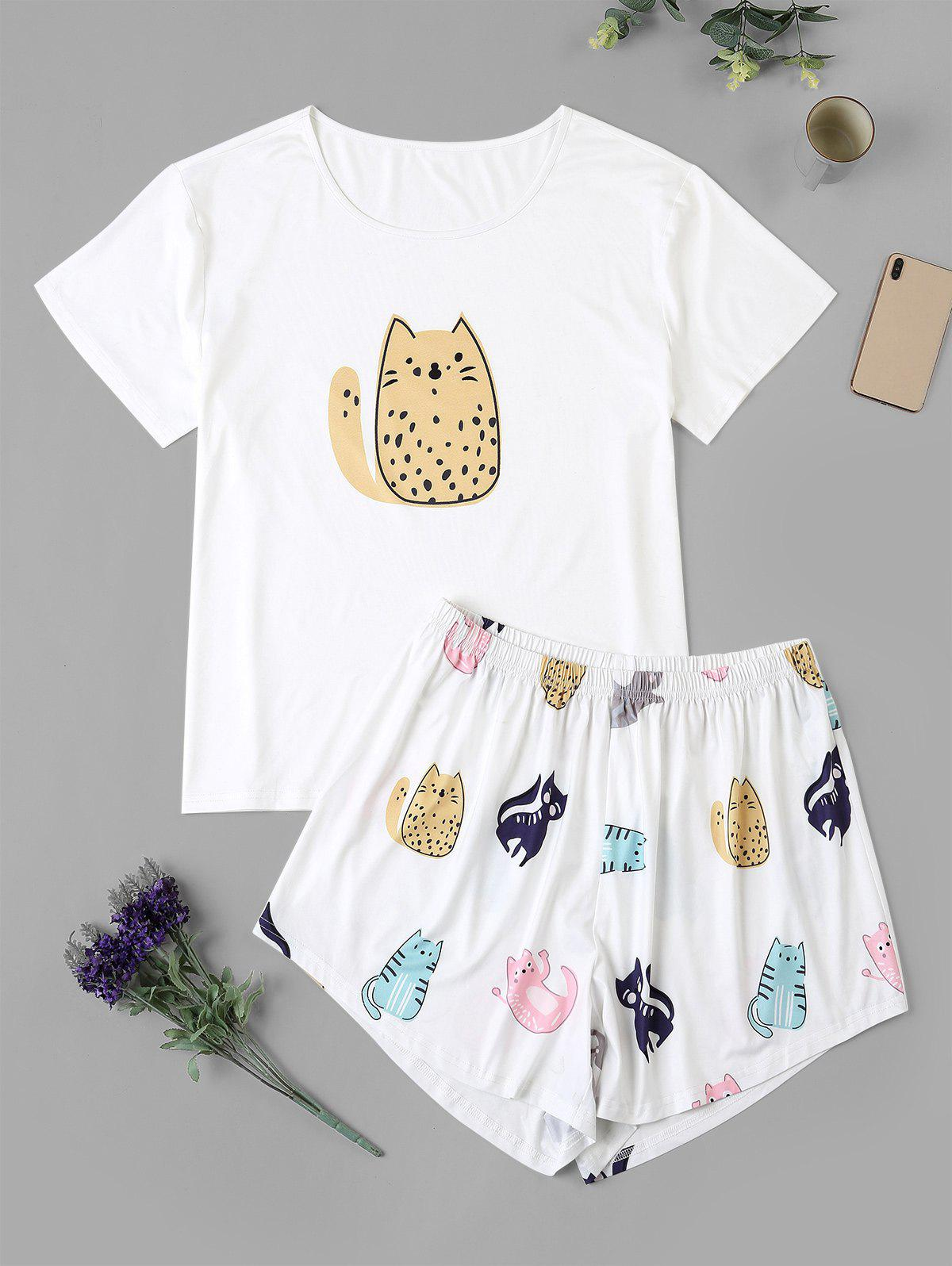 Cat Print Plus Size Pajama Set - WHITE 2XL