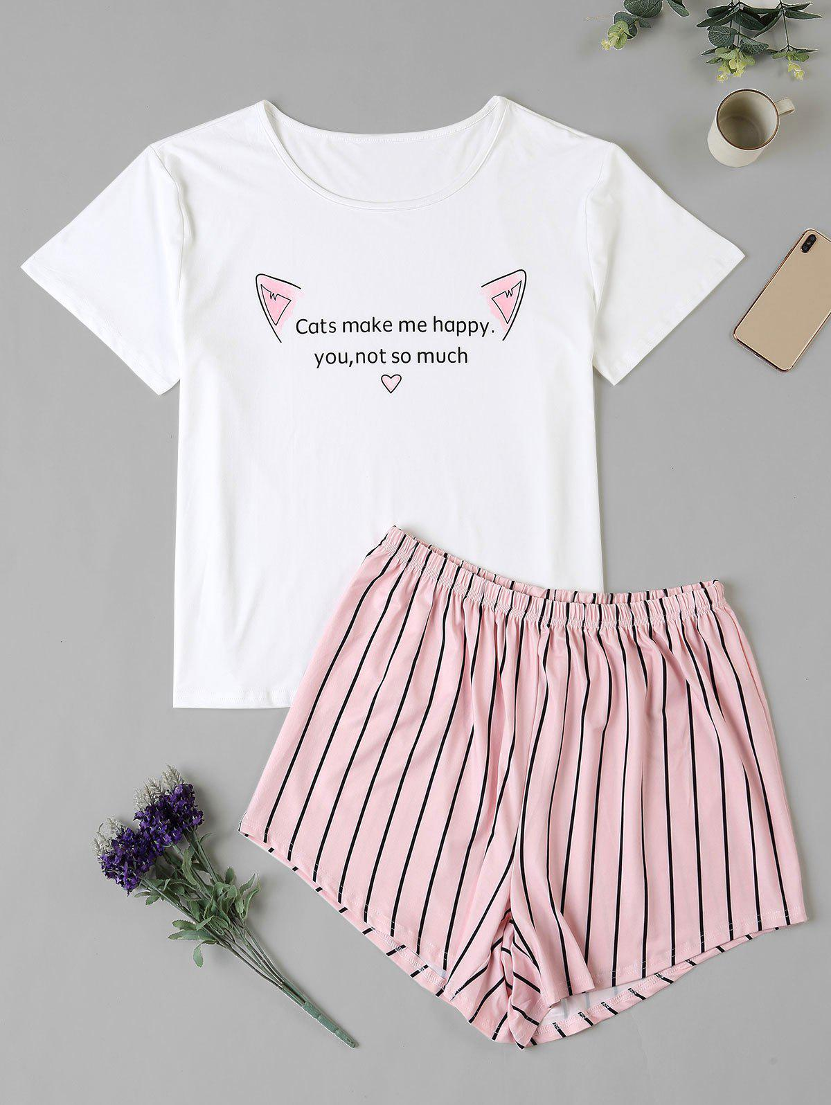 Plus Size Striped Letter Cat Graphic Pajama Shorts Set - WHITE 1XL