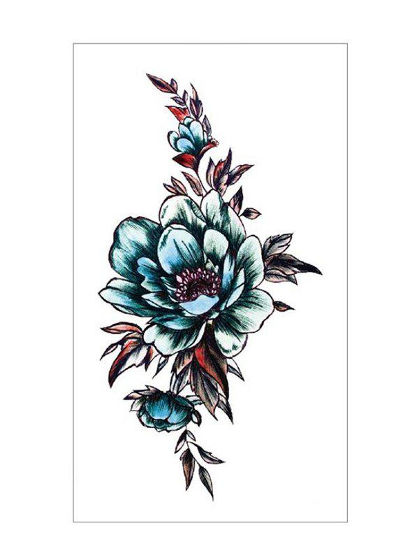 Rose Flower Leaf Geometric Water Transfer Tattoo Stickers - multicolor A BLUE LOTUS