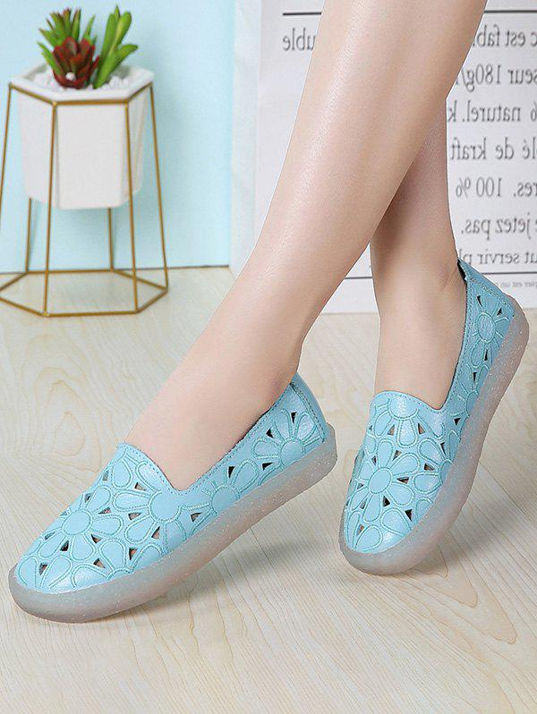 Floral Embroidery Hollow Out Flat Shoes - BLUE EU 40