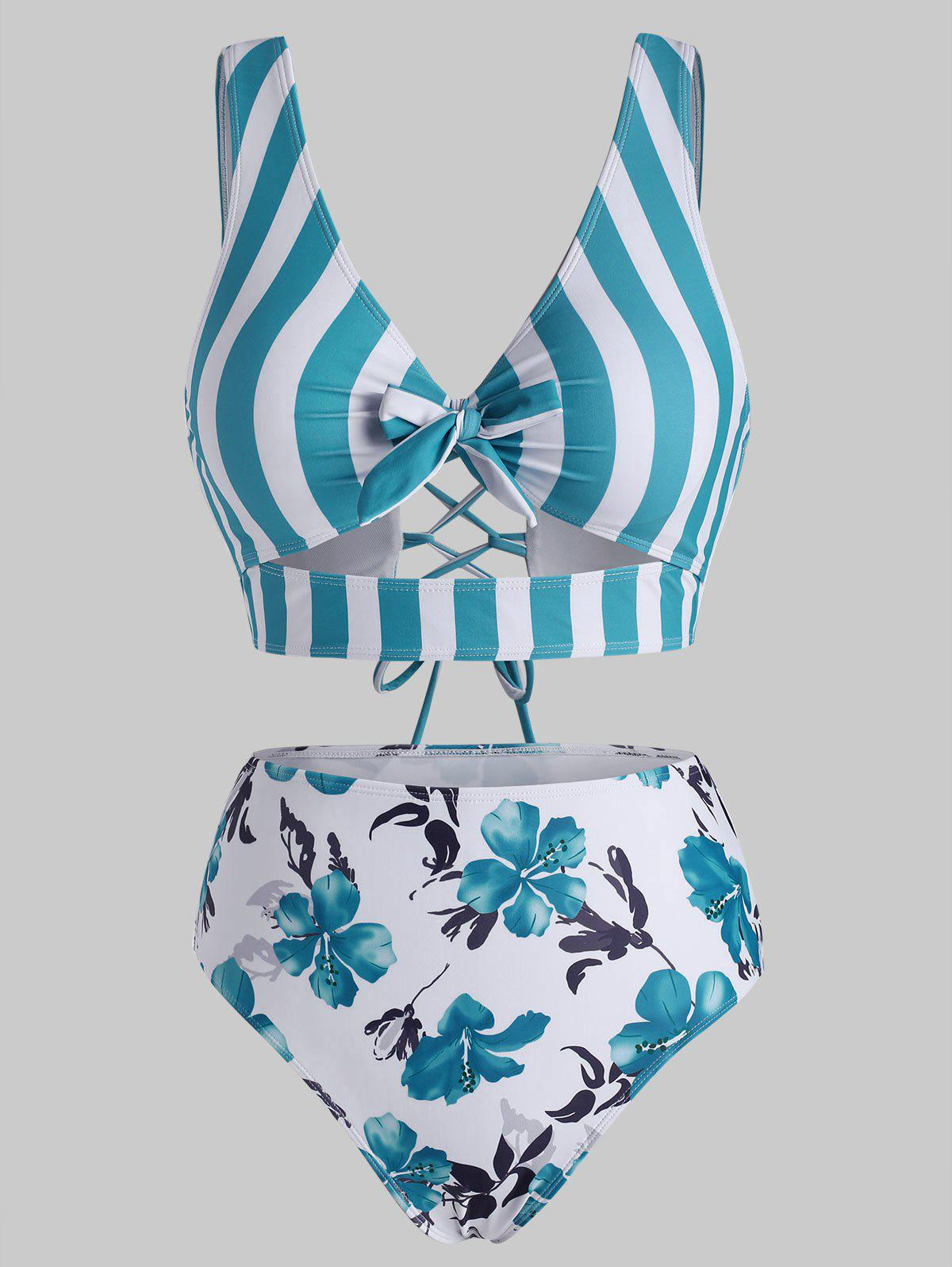 Striped Floral Cutout Lace-up Tankini Swimwear - BLUE L