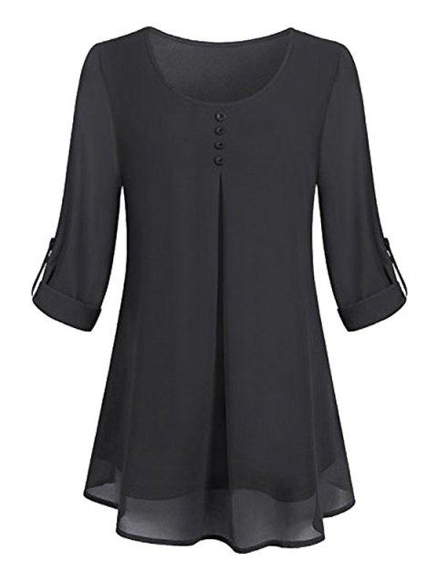 Plus Size Roll Up Sleeve Lined Blouse
