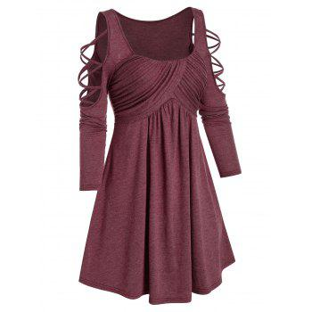 Cold Shoulder Criss-cross Ruched Flare Dress