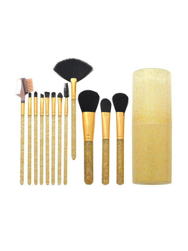 12 Pcs Soft Hair Glitter Makeup Brush Set With Box - GOLDEN