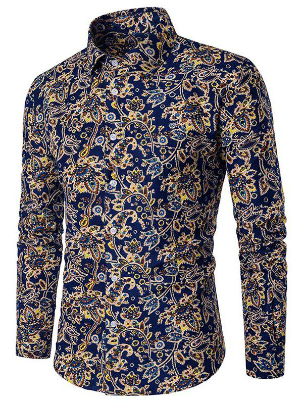 Paisley Flower Print Button Down Shirt - multicolor A M